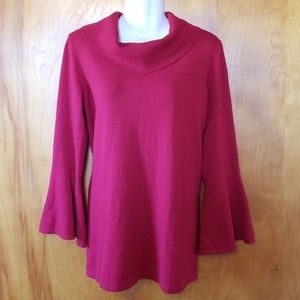 Alfani Red Cowl Neck Bell Sleeve Sweater, L